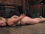 Blonde sweetie takes orders from perverted sadistic who loves exercises and binding 5