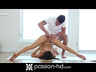 Raunchy guy takes down panties of flexible babe, so she has to interrupt yoga exercises for a while 4