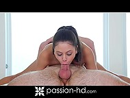 Raunchy guy takes down panties of flexible babe, so she has to interrupt yoga exercises for a while 9