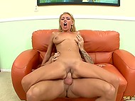 Blonde with succulent baps and bald stallion threw clothes on the floor to fuck as quickly as possible on the sofa 5