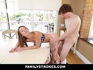 Independence Day didn't go without holiday table and fuck for coquette Kirsten Lee and her stepbrother 9