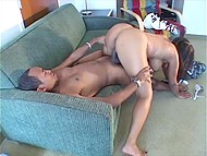 Black energetic beauty puts her huge butt on her boyfriend's similarly big penis very well 7