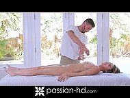 Hottie with round globes loves bearded proficient's rigid cock much more than massage 5
