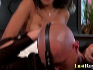 Charming honey is fucked by bald man but she also didn't forget about her strapon 6