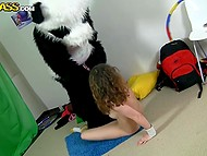 Panda came to visit girl to not let her get bored as well as to make her feel pleasure 10