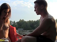 Guys sailed away from the coast and took up fucking petite Russian whore in the boat 5