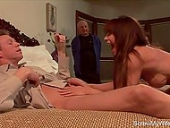 Porn actor fulfilled curly husband's dream and fucked wife with red hair in front of him 4