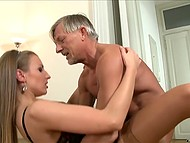 Woman understands that old man is lonely and it is not so difficult to give him her holes 6