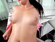 Dark-haired housewife didn't bake a cake because of hot fucking act with curly ejaculator 11