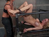 Brunette is upset with dirty girlfriend so she decided to punish her hard in BDSM style 11