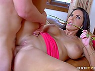 Big-breasted goddess Veronica Rayne was ready to take youngster's cock inside shaved pussy after a couple of dates 4