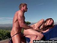 Dudette didn't think that outdoor massage would end with deep pussy penetration