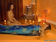 Unstable lovely works at prestigious salon and practices tantric massage with her client 11