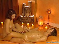 Unstable lovely works at prestigious salon and practices tantric massage with her client 8