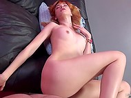 Ginger girl is embarrassed a bit because such an experienced rocker shoves his dick inside of her 6