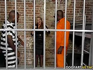 Angry black convicts dragged attorney in the cell and only sucking and fucking skills saved her life 4