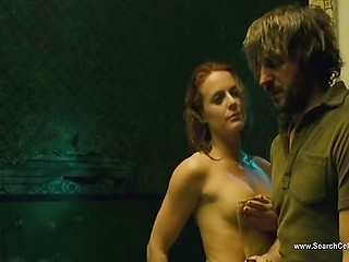 Frank scenes from feature film with participation of a ginger actress who fleshes body and gets fucked