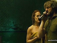 Frank scenes from feature film with participation of a ginger actress who fleshes body and gets fucked 4