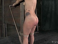 Immoral sadistic caught helpless victim and tied up her in his cellar to whip properly 7