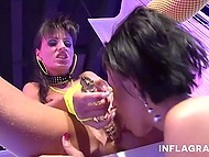 At show rehearsal in the club dancers got excited and fucked each other with help of sex toys 10