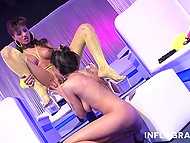 At show rehearsal in the club dancers got excited and fucked each other with help of sex toys 6