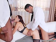 Two black bull hides drilled hungry for fucking veneral mommy with their huge dicks 4