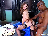 Black boss had a lot of work but lecherous secretary took care of tremendous screwdriver 10