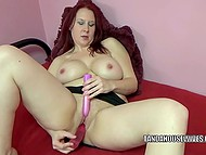 Red-haired housewife postponed cooking to scratch smooth cave with dildo and vibrator at once 3