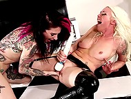 Dominating lady with white hair spanked tattooed submissive's heels with paddle and got shaved cunny fingered 9
