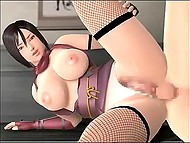 Animated Asian with huge breasts is fucked in both holes before emptying bladder 7