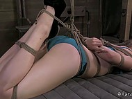 Dude tied up young hottie and put a gag into the mouth to make her feel the thrills 11