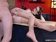 Flexible secretary with exotic tattoos knows how to relieve tired boss' stress in the office 6