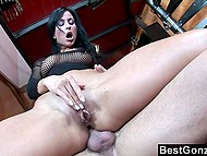Depraved brunette with great ass isn't averse to have anal sex and taste sperm further 7