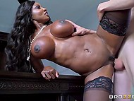 Youngster brought irresistible black MILF with massive hooters a lot of pleasure 8
