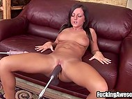 Brown-haired minx uses two drilldos to masturbate and simulate threesome sex 11