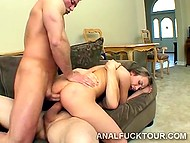 Rough fuckers don't give smoking-hot beauty in high heels a minute to rest from double penetration 5