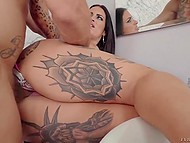 Tattooed Spanish knockout with sizeable boobs is so sexy that chap bones her at every opportunity 7