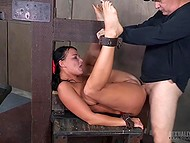 Bumpkin with cap perforated butthole of tied slave and invited friend to keep their company 5