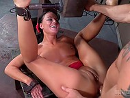 Bumpkin with cap perforated butthole of tied slave and invited friend to keep their company 7