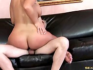 Lop-eared boy fucked pierced snatch of busty dame and erupted big load of cum over breasts 4