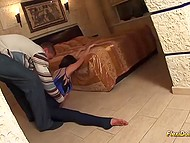 Russian fellow found big bag by the door and he was really surprised when saw flexible gymnast 4