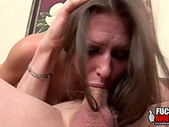 Buxom lioness with pierced nipples can't imagine her life without sturdy penis in mouth 6
