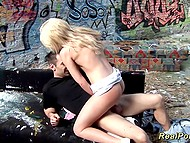 Blonde-haired gal was smoking in the abandoned building and German guy decided to hit on 8