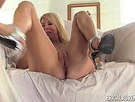 Light-haired mature lady and big-tittied acquaintance forget about age difference when grab powerful vibrator 5