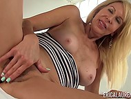 Blonde-haired temptress Erica Lauren energetically masturbated shaggy crack on camera 10