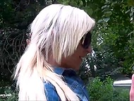 Platinum blonde with sunglasses came to the park and appeased smooth sissy with fingers and small vibrator 6