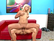 Oral and vaginal sex of white-haired Spanish Bridgette B and famous bald fucker 5