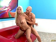 Oral and vaginal sex of white-haired Spanish Bridgette B and famous bald fucker 6