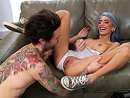 Blue-haired lass totally burns with desire for tattooed guy but he was not long in coming 3