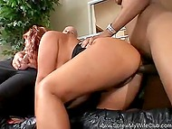 Husband watched buxom wife copulating with black guy and giving a head to the old man 8